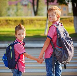 School kids crossing street