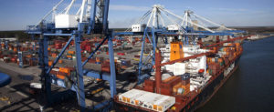 Overhead view of South Carolina ports authority