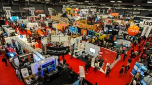 Overhead view of tradeshow